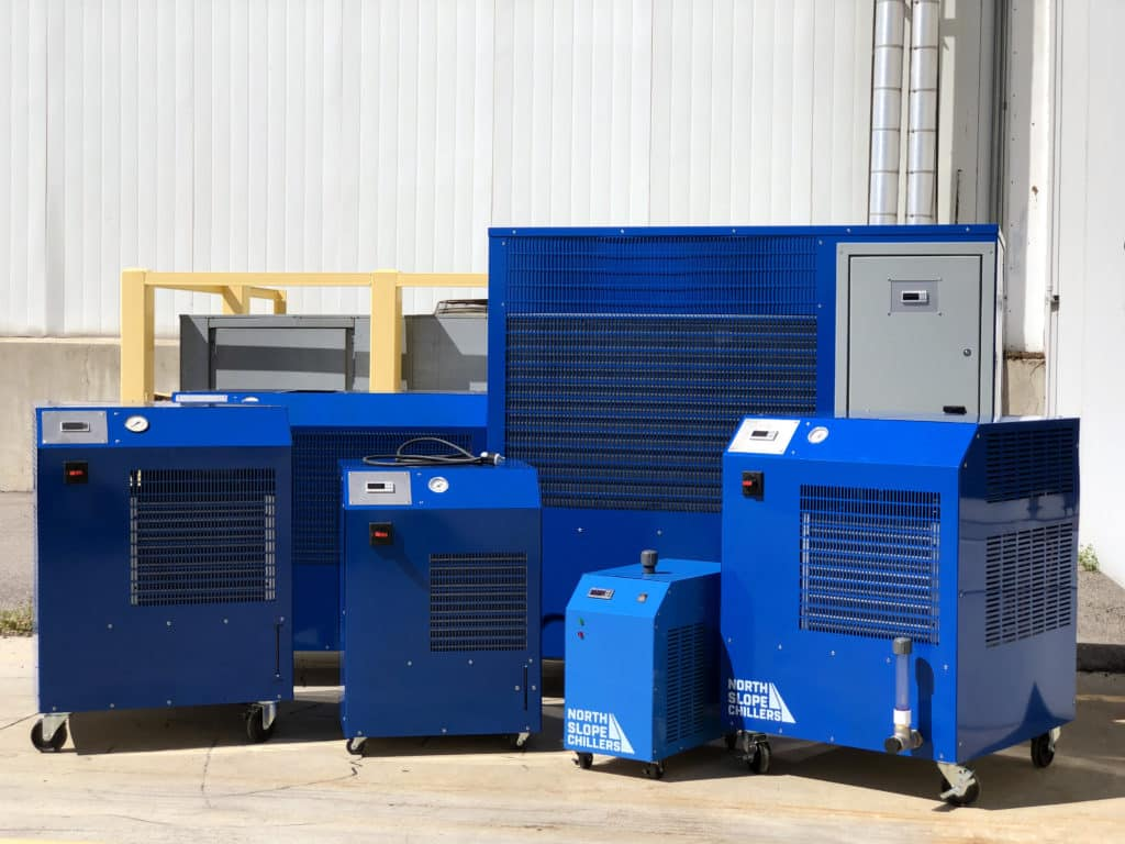 Collection of industrial chillers from North Slope Chillers