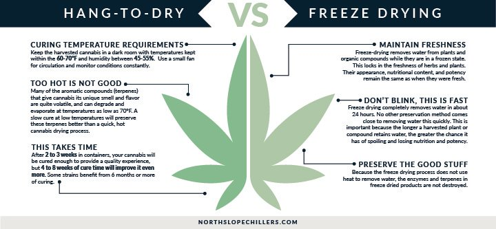 North Slope Chillers graphic comparing hang drying and freeze drying cannabis
